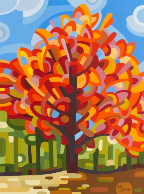 original abstract landscape fall red maple forest
